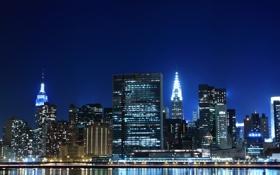 Обои свет, ночь, мегаполис, New York, высотки