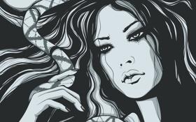 Картинка девушка, лицо, арт