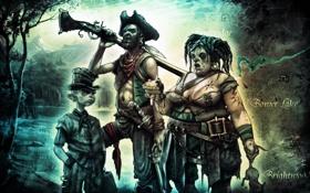 Картинка семейка, веселая, карта, ружье, Fable 2, нож, пираты