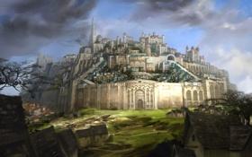Обои город, рисунок, крепость, Guild Wars 2