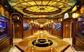 Обои двери, освещение, коридор, пол, витрины, The Walt Disney Theater