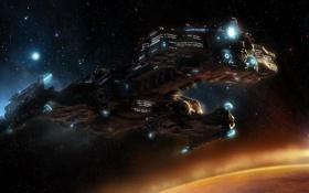 Обои космос, корабль, планета, StarCraft 2