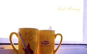 Картинка чай, окно, Утро, чашки, небо.