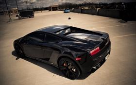 Обои чёрный, Lamborghini, спорткар, Gallardo, black, ламборджини, галлардо