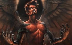 Картинка крылья, руки, арт, ярость, парень, Deus Ex, Human Revolution