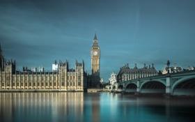 Картинка небо, мост, река, часы, Англия, Лондон, башня