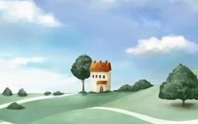 Обои дорога, облака, деревья, дом, холмы, рисунок