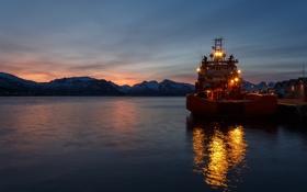 Обои огни, лодка, утро, Шотландия, баржа