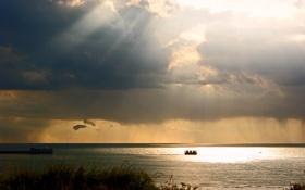 Картинка море, небо, облака, свет, тучи, блики, игра