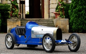 Картинка авто, синий, ретро, замок, красота, серебряный, bugatti