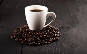 Обои кофе, зерна, чашка, cup, beans, coffee