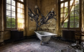 Обои ванна, интерьер, комната