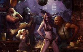 Обои шар, смех, диско, бар, World of Warcraft, эльфийка, вечеринка