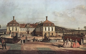 Обои Bernardo Bellotto, courtyard, живопись, painting, 1758, The imperial summer residence, картина