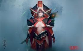Картинка девушка, оружие, фон, одежда, арт