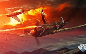 Обои самолет, огонь, звезда, aviation, авиа, MMO, Wargaming.net