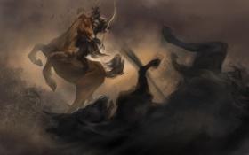 Обои оружие, конь, пыль, выстрел, лук, арт, всадник