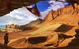 Обои песок, девушка, облака, город, ветер, арт, дюны
