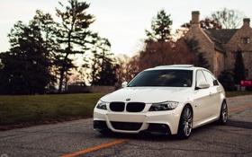 Картинка белый, бмв, BMW, перед, white, седан, E90