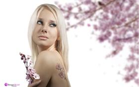 Картинка фиолетовый, глаза, Девушка, Сакура, Блондинка, голубые, татуировка