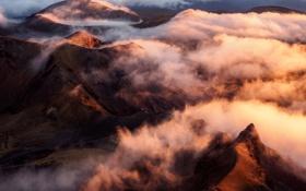 Обои sunset, cloud, mountain