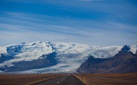 Картинка облака, небо, дорога, поле, горы, снег