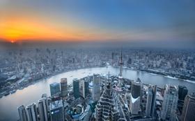 Обои река, рассвет, дома, горизонт, панорама, Китай, Шанхай