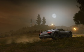 Обои машина, ночь, луна, тачка, porsche, need for speed most wanted 2