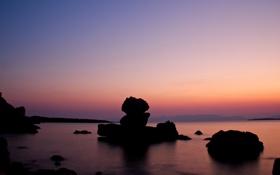 Обои камни, фото, океан, вода, вечер, море, берег