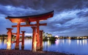 Картинка вечер, Китай, арка, Архитектура