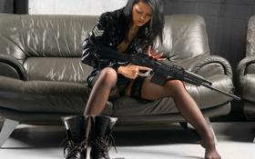 Картинка девушка, наручники, берцы, сайга (trooper прав)
