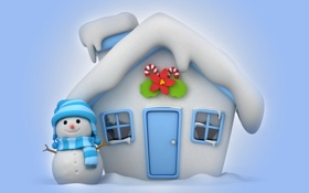 Обои winter, christmas, cute, snowman, new year, house, зима