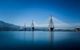 Обои опора, горы, вантовый мост Рион-Андирион, Греция, Коринфский залив