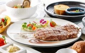Картинка мясо, овощи, соус, гриль
