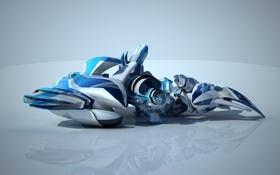 Обои transformer blue, трансформер, отражение, нечто