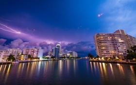 Обои небо, тучи, огни, молния, Майами, вечер, Флорида