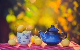 Картинка осень, природа, стол, яблоки, чайник, посуда, скатерть