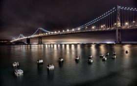 Обои небо, вода, свет, ночь, мост, город, огни