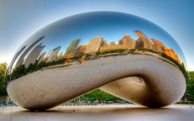 Картинка город, парк, вечер, Чикаго, монумент