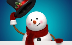 Обои рендеринг, новый год, снеговик, christmas, new year, cute, snowman