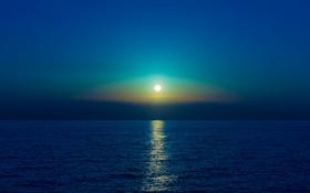 Картинка море, отражение, луна, зеркало, горизонт, лунный свет