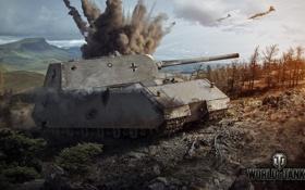 Обои взрыв, Германия, танк, танки, Germany, самолёты, WoT