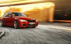 Картинка поворот, BMW, red, 335i, front, F30, Sedan