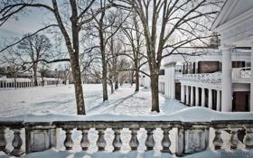 Обои зима, снег, архитектура