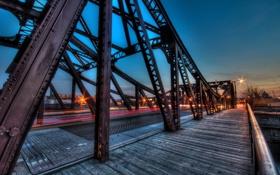 Обои chicago, город, ночь, мост