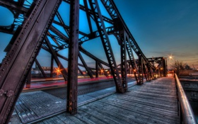 Обои ночь, мост, город, chicago