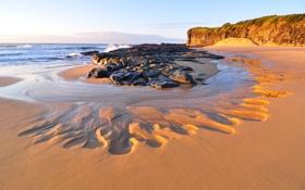 Картинка песок, волны, пляж, закат, камни, океан
