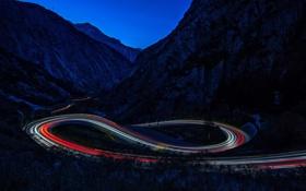 Обои дорога, свет, горы, ночь, выдержка