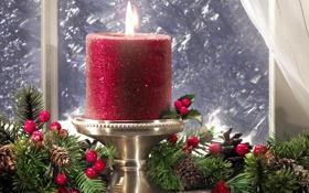 Обои лёд, ёлочные, Новый год, свеча, подсвечник, украшения, красная