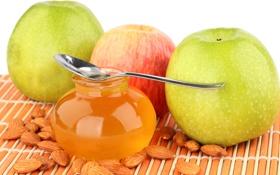 Обои миндаль, ложка, яблоки, honey, мед, банка